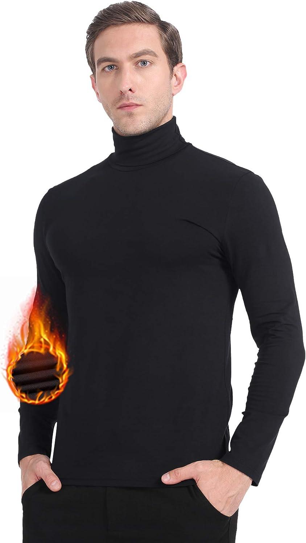 MANCYFIT Men's Thermal Tops Turtleneck Shirt Fleece Lined Undershirt Long Sleeve Base Layer Pullover