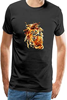 Cotton Mens T Shirt Casual Adult Tops Short Sleeves Funny Animal Watercolors Wild Lions Logo Tee Shirts