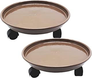"""Amkoskr 2 Pack 14"""" Brown Plant Caddy with Easy Moving Caster Wheels Round Movable Planter Dolly Trolley Tray Pallet Outdoor Indoor Tree Flower Stand Planter"""
