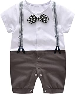 Baby Boy Summer Cotton Gentleman Bowtie Romper