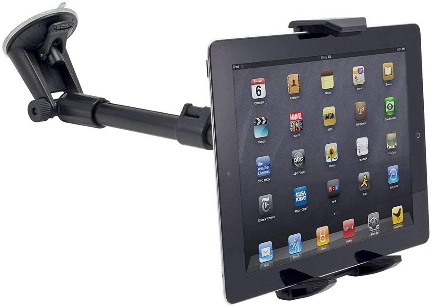 Robust Windshield Tablet Car Mount or Truck Mount Window Holder and Adjustable Arm Extender for Apple iPad Pro 9.7/10.5/11/12.9 Tablet w/Anti-Vibration Swivel Lock Cradle (use with or Without case)
