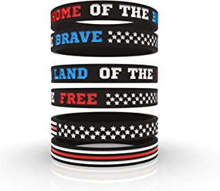 USA Flag American Pride & Fourth of July Independence Day Silicone Motivational Wristbands   Inspirational Rubber Bracelets for Veterans Patriots Americana Hero Icons   Unisex Men Women (6/12/24)