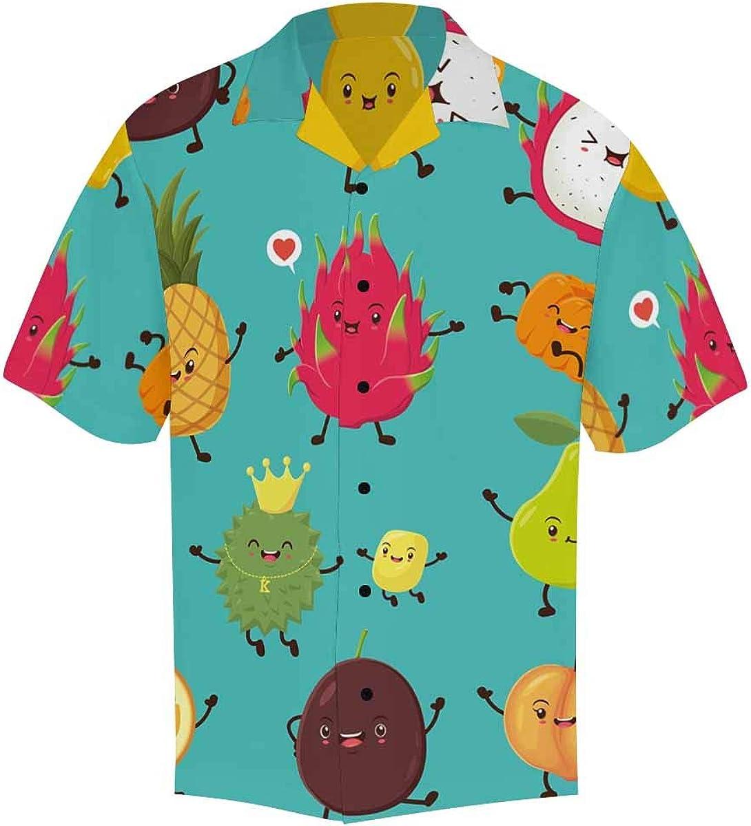 InterestPrint Men's Casual Button Down Short Sleeve Donuts Colorful Hawaiian Shirt (S-5XL)