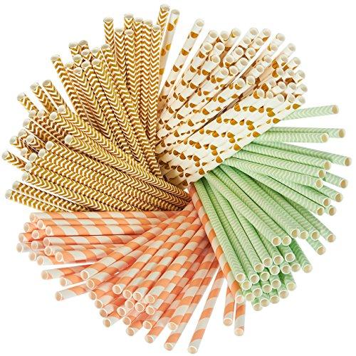 Lot de 160 pailles en papier biodégradables Vert menthe, doré métallisé, motifs à pois, rayures corail et chevrons