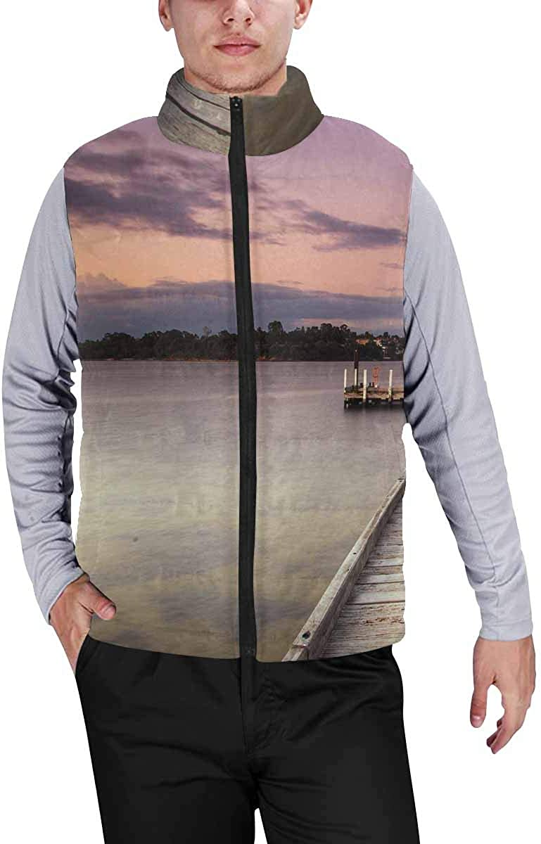 InterestPrint Men's Soft Stand Collar Jacket for Fishing Hiking Cycling Point Walter Beach in Perth