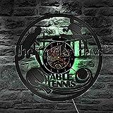 JAXU CWN 'ART Play Ping Pong Wall Clock Vinyl LP Record Time Clock Table Tennis Game LED Light Sport Vintage...