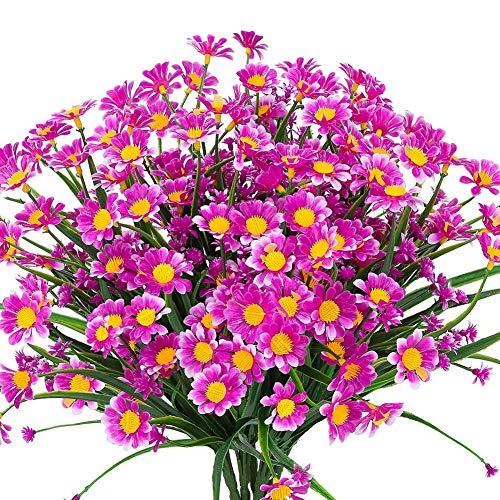 Ksnnrsng Künstliche Gänseblümchen Blumen,4 Stück Kunstblumen Grün UV-beständige Pflanzen Sträucher Unechte Blumen Innen Draussen für Zuhause Garten Braut Hochzeit Dekor (Fuchsie)