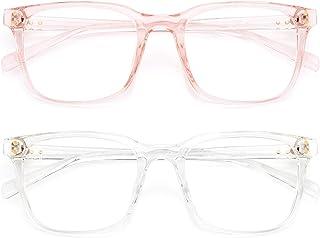 Livho 2 Pack Blue Light Blocking Glasses Computer Gaming Square Nerd Fake Eyeglasses Women Men Anti UV Eye Strain Migraine...