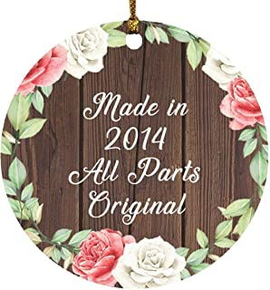 7th Birthday Made in 2014 All Parts Original - Circle Wood Ornament A Christmas Tree Hanging Decor - for Friend Kid Daught...