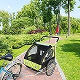 HOMCOM 2 en 1 Remolque de Bicicleta para Niños de 2 Plazas con Amortiguadores...