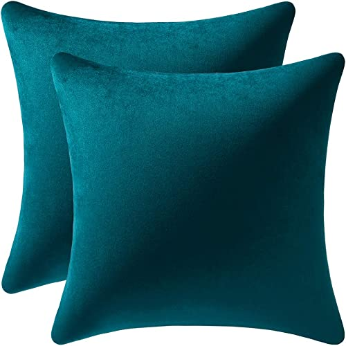 DEZENE Throw Pillow Cases 18x18 Teal: 2 Pack Cozy Soft Velvet Square Decorative Pillow Covers for Farmhouse Home Decor
