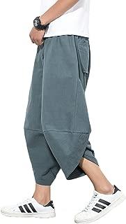 Mens Casual Elastic Waist Linen Capri Wide Leg Baggy Harem Pants Trousers