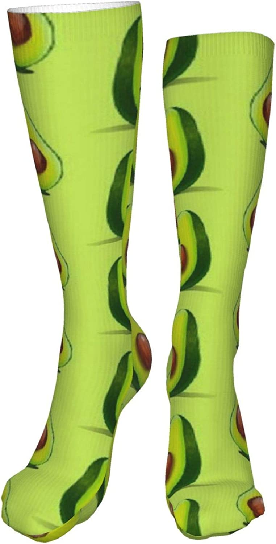 Avocado Vegan Women Premium High Socks, Stocking High Leg Warmer Sockings Crew Sock For Daily And Work