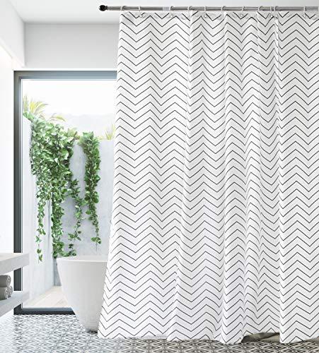 Premium White Fabric Shower Curtain Farmhouse Cloth Shower Curtains for Bathroom 72 x 72 (Black Stripe)-Machine Washable
