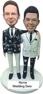 Figurina di Topper di torta nuziale maschile gay personalizzata Figurina di Topper di torta nuziale gay basata sulla foto ...