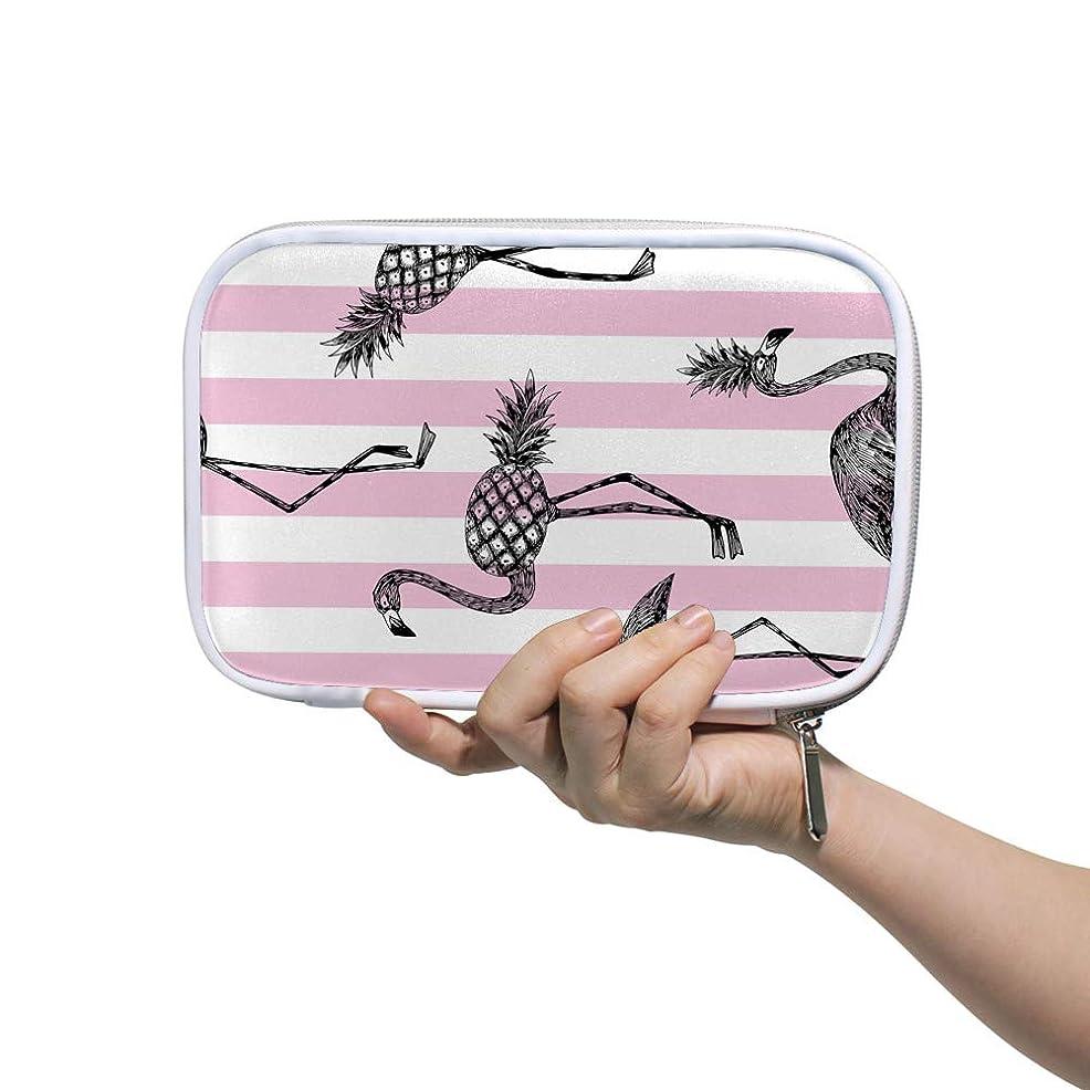 タンパク質暗くする旅ZHIMI 化粧ポーチ メイクポーチ レディース コンパクト 柔らかい おしゃれ 化粧品収納バッグ コスメケース フラミンゴの柄 機能的 防水 軽量 小物入れ 出張 海外旅行グッズ パスポートケースとしても適用