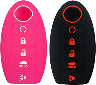Coolbestda 2Pcs Rubbber 5buttons Smart Key Fob Remote Cover Case Protector Keyless Skin Jacket Holder for Nissan Rogue Maxima Altima Sedan Pathfinder