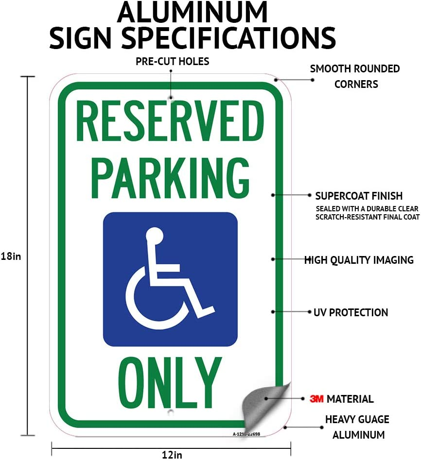 Trucks and Similar Vehicles 12 X 18 Heavy-Gauge Aluminum Rust Proof Parking Sign No RV Parking Protect Your Business /& Municipality Angled Parking for Cars Made in The USA