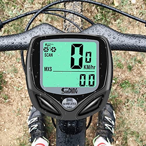 Cuentakilómetros Inalámbrico para Bicicleta, Velocímetro para Bicicleta, Ciclismo con 16 Funciones, Velocímetro Impermeable Inalámbrico para Ciclismo con Pantalla LCD de Retroiluminación (Negro)