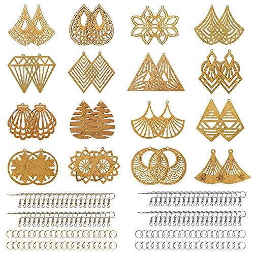 Juego de 192 pendientes de madera africana, incluye 32 colgantes bohemios de madera, 80 anillos de salto y 80 ganchos para pendientes, para hacer manualidades, joyas, pendientes, suministros