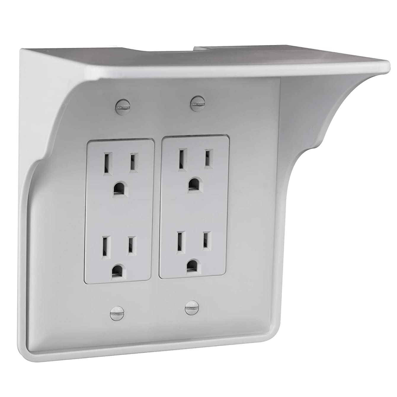 Storage Theory   Double Outlet Power Perch   Ultimate Outlet Shelf   Easy Installation, No Additional Hardware Required   Holds Up to 10lbs   White Color   Single Shelf