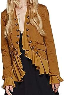 Womens Vintage Ruffle Lightweight Open Front Coat Cardigan Jacket