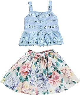 BOIZONTY Toddler Kids Baby Girl Floral Outfit Lace Halter Tank Top+Boho Skirt Dress Set Summer Clothes