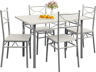 CASARIA Conjunto de 1 Mesa y 4 sillas Berlín Muebles de Cocina y de Comedor Blanco Mesa de MDF Resistente 110x70 cm