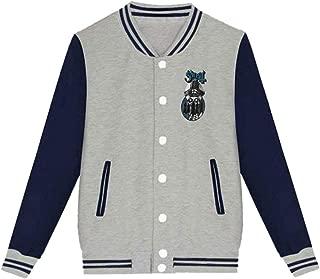 Unisex New Baseball Uniform Bomber Jacket, Boy/Girl Cool Ghost Bc Logo Sports Jacket Gray