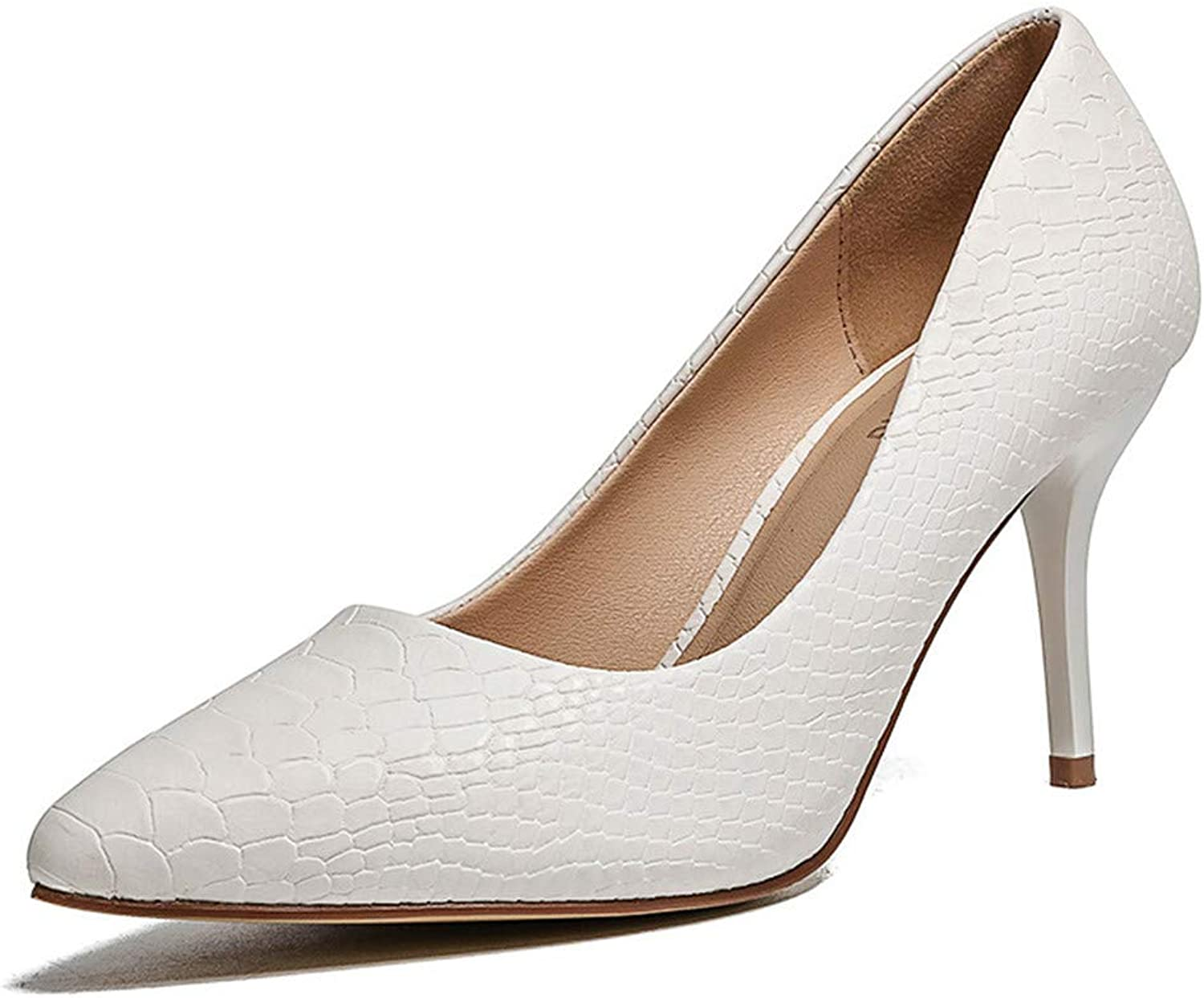 Meiren Women's shoes Pointed Stiletto Single Shallow Mouth High Heels White