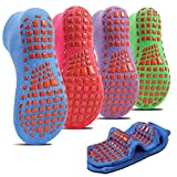 HOME RIGHT Trampoline Socks,Yoga Socks for Teens over 11 Silicone Rubber Bottom cotton Socks for Baby Toddler Barefoot Workout Athletic 4Pairs(Rose Red+Blue+Purple+Green,L)