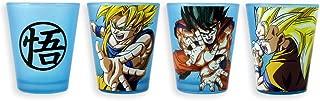 Dragon Ball Z Goku Shot Glasses, Blacklight Reactive decal Glass, Set of 4, 1.5oz approx.