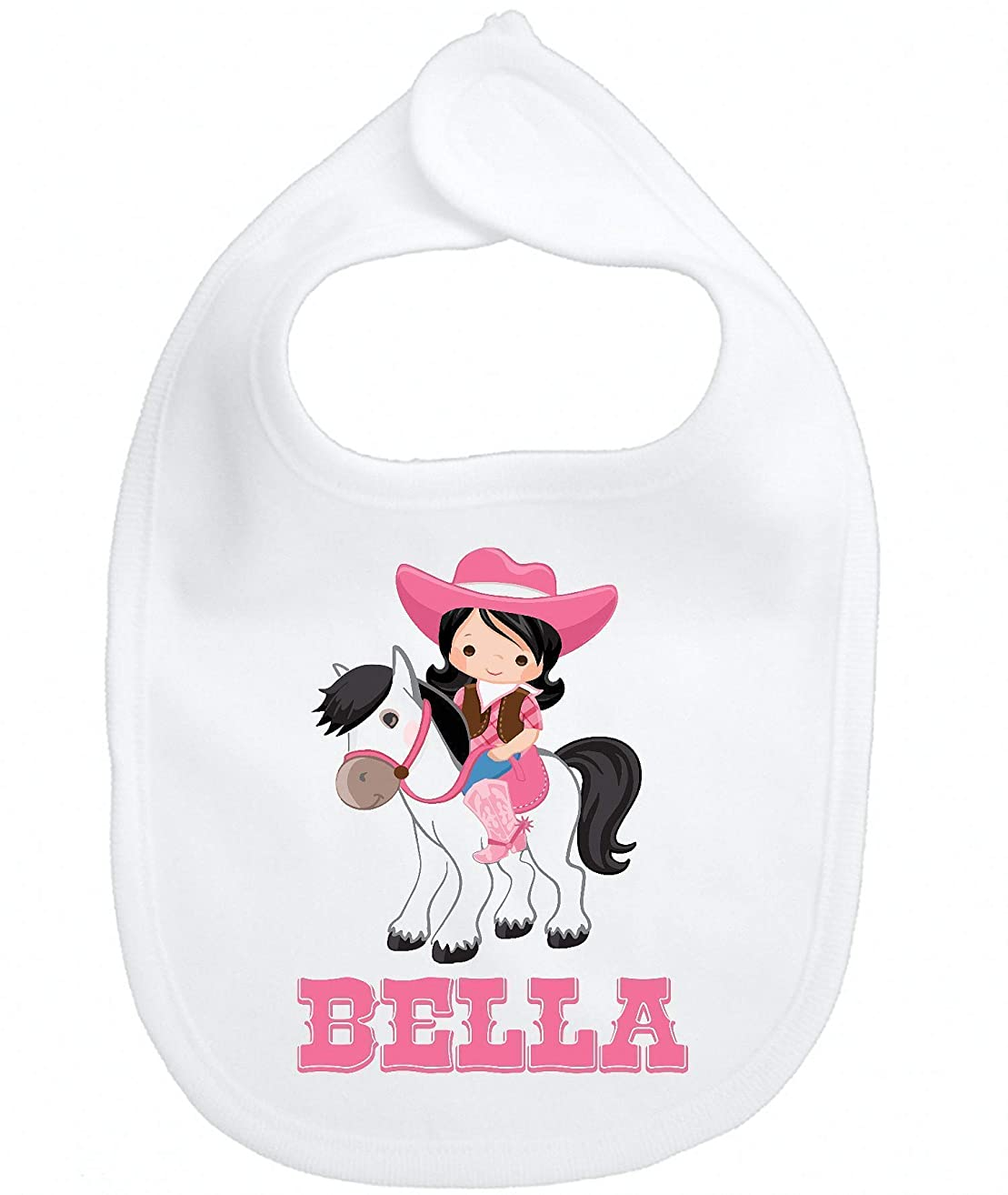 Personalized Custom Name Bib Pink Cowgirl Horse Infant Baby Girl Micro Fiber