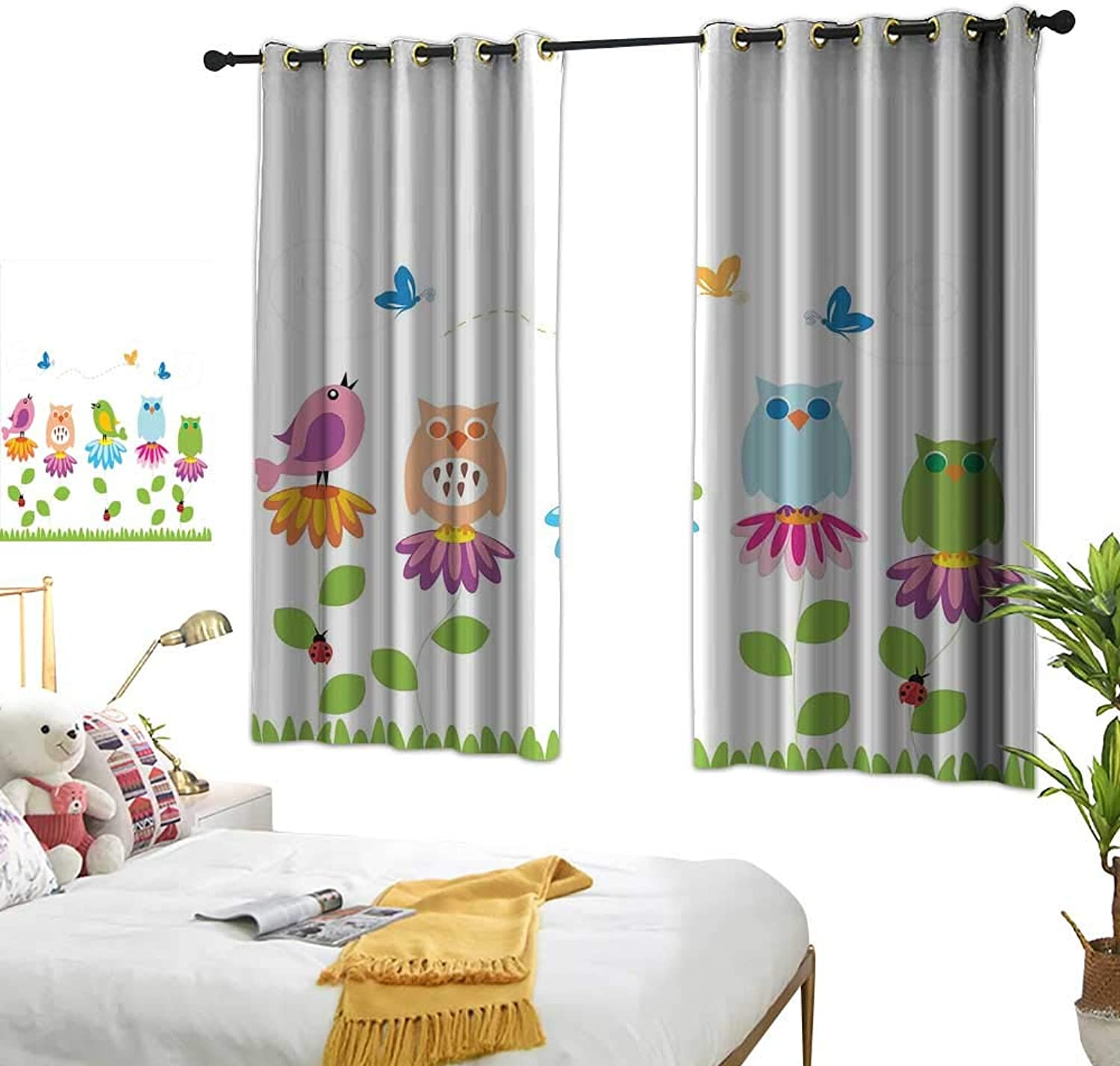 Anzhutwelve Grommet Top Drapes Flowers,colorful Cartoon Style Birds on Chamomile Daisy Flowers Butterflies Ladybugs Kids,Multicolor W55 x L45 Drapes for Living Room