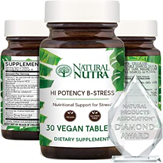 Natural Nutra Hi Potency B Stress Complex with Vitamin C Supplement, Cognitive Health, Migraine Relief, Asc...