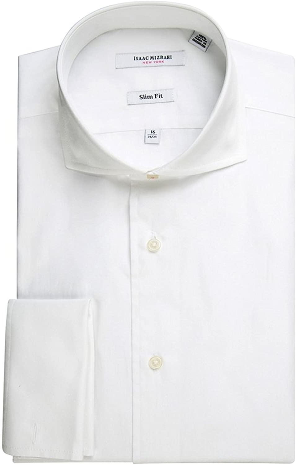 Isaac Mizrahi Men's Slim Fit Spread Collar French Cuff Cotton Stretch Solid Dress Shirt - Colors