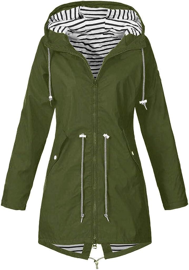 HONGJ Womens Raincoat, Plus Size Rain Jackets Outdoor Waterproof Drawstring Zipper Hooded Windproof Lightweight Outerwear