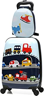 Travel Suitcase Kids 2 Pc Wheels Luggage Set 18'' Carry on Luggage and 13'' Backpack Car
