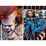 2 Pack Clown Diamond Painting Kit, MIKIMIQI DIY 5D Full Drill Clown Nightmare Diamond Painting Kits for Adults and Beginner Diamond Arts Craft Decor, 15.8 X 11.8 Inch