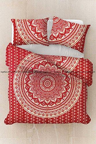 Sophia-Art Housse de couette indienne faite à la main en coton imprimé ethnique, bohème, mandala, ombre avec 2 taies d'oreiller, Coton, Rouge foncé doré ombré., Queen 88*92 Inches