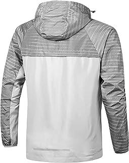 Mens Waterproof Jacket Outdoor Quick Dry Raincoat Windproof Casual Zipper Windbreaker with Hood