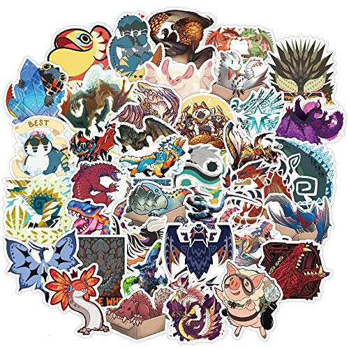 Monster Hunter Laptop Stickers for Teens Boys Girls| 50 PCS | Cute Cartoon Anime Game Stickers | Aesthetic Waterproof Decal Pack for Flasks Computer Laptop Waterbottle Bike Tablet Phone Luggage Car
