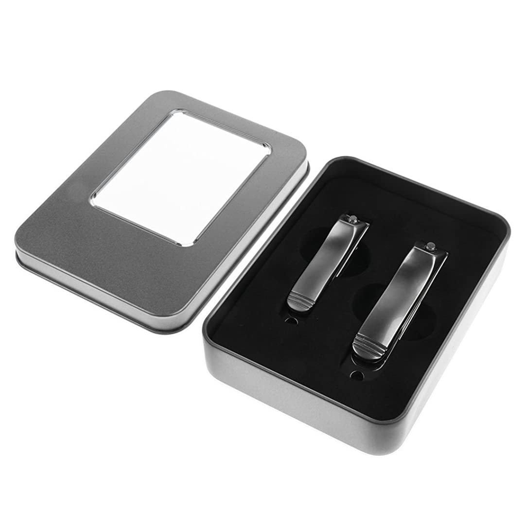 指定する前投薬自動Perfk ケース付き ネイルカッター はさみ 2本 ステンレス 高品質 爪切り カッター トリマー マニキュアツール