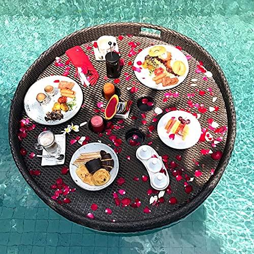 CYYAN Bandeja Flotante Redonda de ratán, Bandeja de Servicio de ratán de Lujo con Orificio para la Mano Bandeja de Comida Resistente Bandeja de mayordomo Impermeable para Desayuno, Platos de té