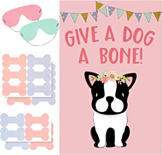 AIEX Dog Party Game Pin the Bone on Dog Party Favors Games for Kids Dog Theme Party Supplies Include Large Dog Theme Poster and 20 Pink Bone Stickers