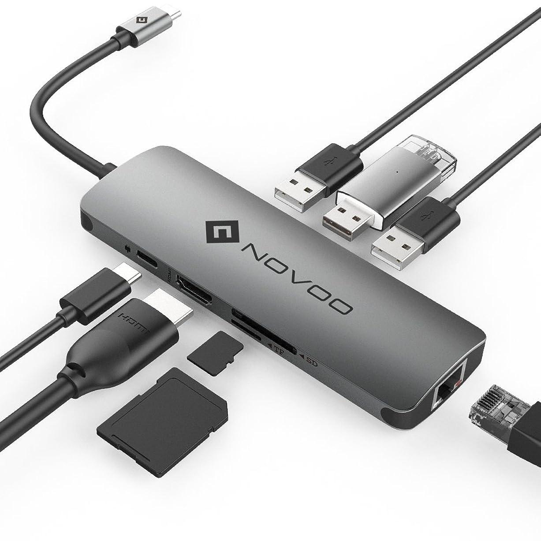 副窓を洗うモニターUSB C ハブ NOVOO USB3.0 TypeCアダプター HDMIビデオ出力 SD MicroSD カードリーダー LANポート(1000Mbps) USB PD対応 MacBook?MacBookPro/ChromeBook対応