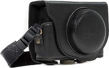 MegaGear MG283 Sony Cyber-shot DSC-RX100 VI, DSC-RX100 V, DSC-RX100 IV, DSC-RX100 III Estuche Ever Ready, Funda de pronto uso de cuero, con correa - Negro