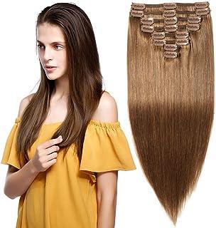 Elailite Extensiones Clip Pelo Natural Cabello Humano [Max Grueso] - 35 cm 120g #06 Castaño Claro Mecha Hair 100% Remy Human 8 Piezas
