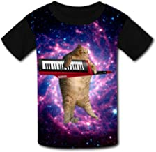 Kids Custom Cats Play in Space T-Shirts Boys Girls Teenager Tee Shirt Children Youth Graphics Tees