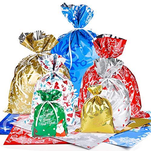 MIAHART 16 Pezzi Sacchetti Regalo di Natale 4 Misure Sacchetti Regalo Natalizi Stili Assortiti Sacchetti Regalo Natalizi con Lacci per Feste di Natale